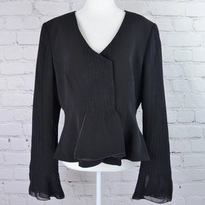 ARMANI Silk Peplum Jacket w/ Sheer Ruffle Trim …